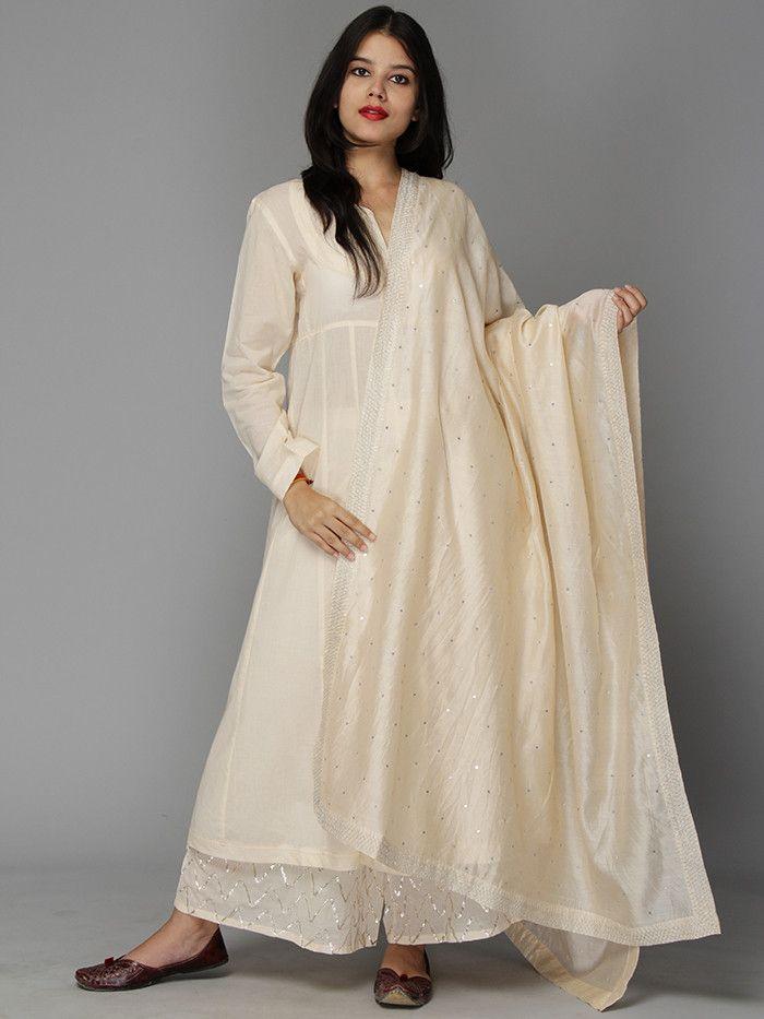 Old Rose Mulmul Kurta and Ijar with Chanderi Sitara Dupatta - Set of 3 – The Loom