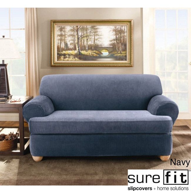 Designed to fit a T-cushion sofa, this two-piece sofa slipcover offers style and protection in one easy-to-use package. Perfect for updating an old sofa or for protecting a new one, it is machine washable and comes in several colors.