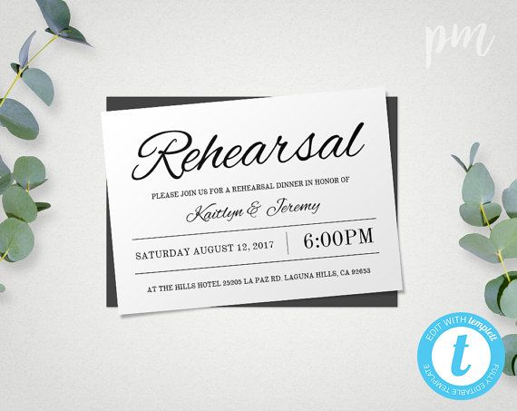 Rehearsal Dinner Invitation Template Instant Download