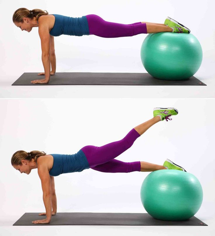 Plank with Leg Lift - Planks are effective on their own, but add a stability ball in the mix and you'll really feel the burn in this core and butt-toning move.
