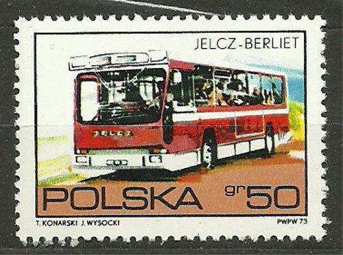 Poland, 1973, Mi 2290, Jelcz-Berliet Bus, #345, MNH