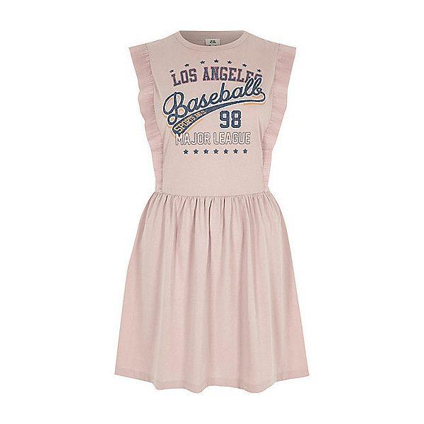 Pink baseball print frill skater dress ❤ liked on Polyvore featuring dresses, tall dresses, sleeveless dress, skater dresses, jersey knit dresses and pattern dress