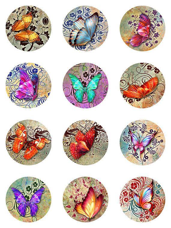 Mariposas florales Deco Grunge papel Collage por pixeltwister                                                                                                                                                      Más