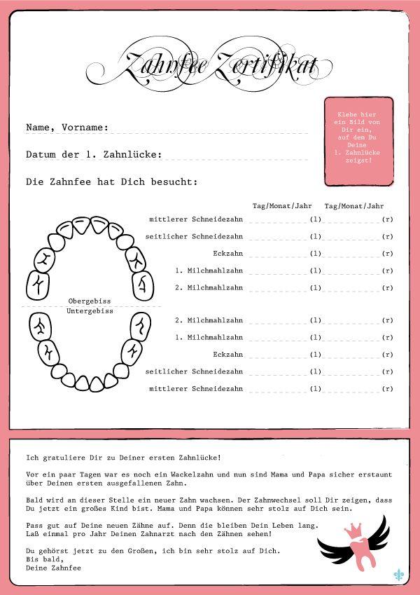 Zahnfee Zertifikat Brief von der Zahnfee in rosa jetzt auch für Mädchen