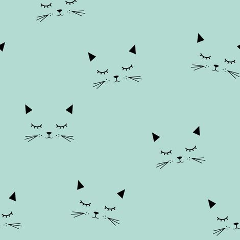 Cats - Mint fabric by kimsa on Spoonflower - custom fabric