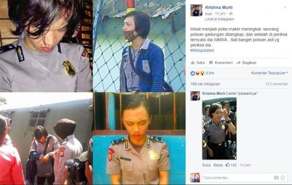 Berita Terheboh : Unggah Foto Polwan Gadungan 'Waria' Di FB, Krishna Murti Banjir Protes!! – Dotekno