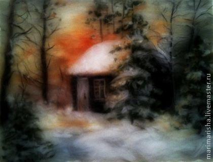 Картина из шерсти  Домик в зимнем лесу. Картины шерстью очень популярны. И не зря! Они вносят в ваш дом уют, тепло и хорошее настроение! Это и прекрасный подарок, и элемент вашего интерьера, который украсит любое помещение: гостиную, кухню,спальню, прихожую!