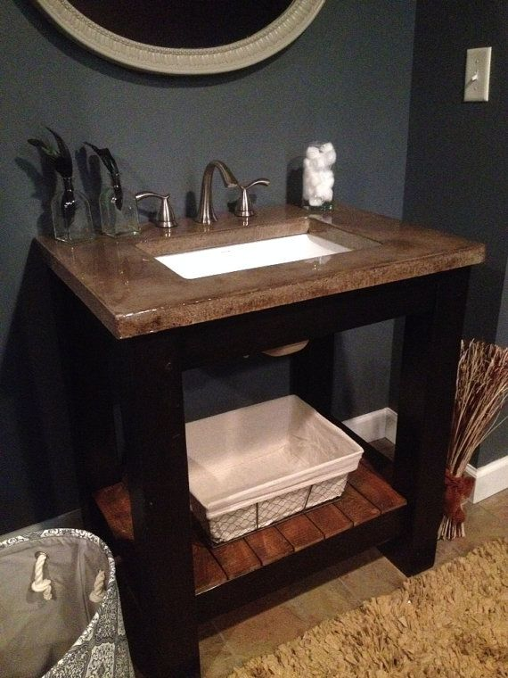 Crafted Vanity Base With Concrete Countertop By DefinedConcrete, $900.00