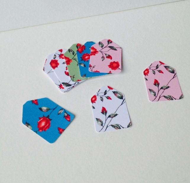 Mini Gift,Message Tags,'Roses' printed card,100pk £1.20