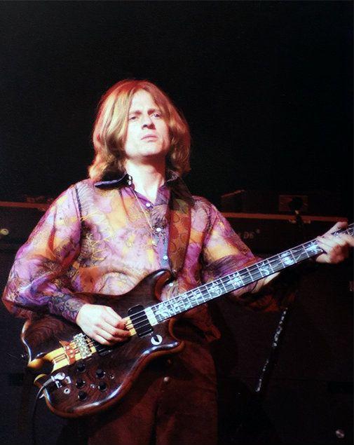 John Paul Jones performing onstage. April, 1977.