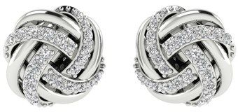 Pompeii3 1/4ct Pave Diamond Studs Infinity Earrings 10k White Gold Womens Jewelry.