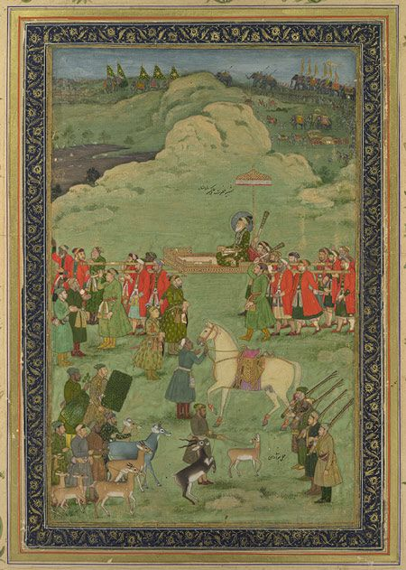 The Emperor Aurangzeb Carried on a Palanquin, Mughal, ca. 1705–20 Bhavanidas (Indian, active ca. 1700–1748) Opaque watercolor and gold on paper