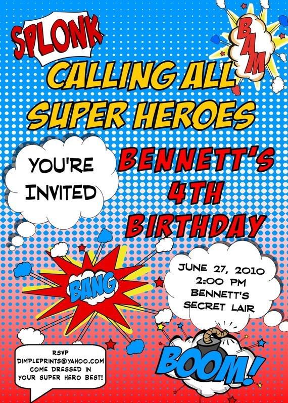 Comic Super Hero Party Invitation Captain Underpants