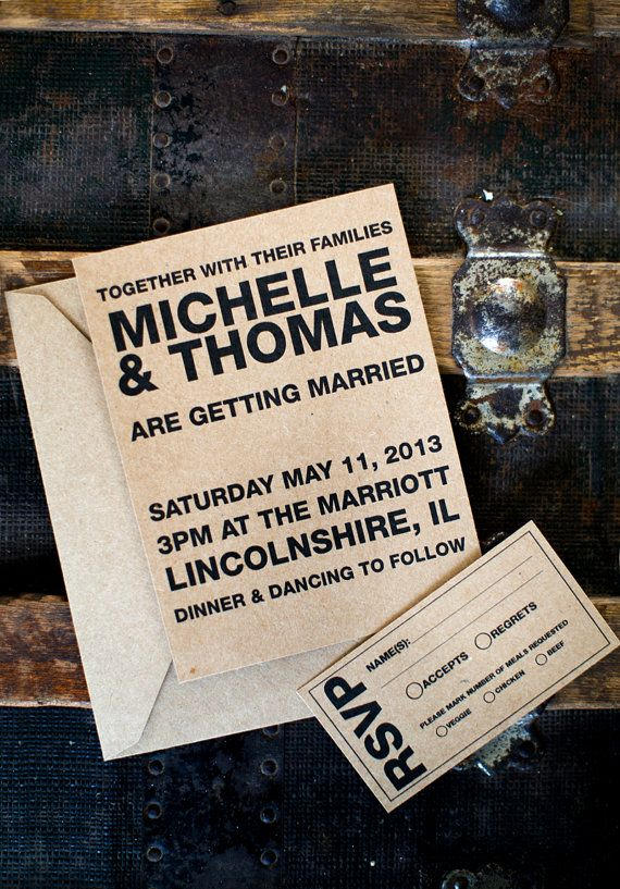 Simple black on kraft paper wedding invitations weddinginvite invitations wedding rustic farmhousewedding