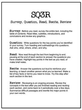Here is a an SQ3R (Survey, Question, Read, Recite, Review) handout and worksheet to help students with effective note-taking and recall. This is a proven method, and now it's easy to implement in your classroom with this explanatory handout and template.