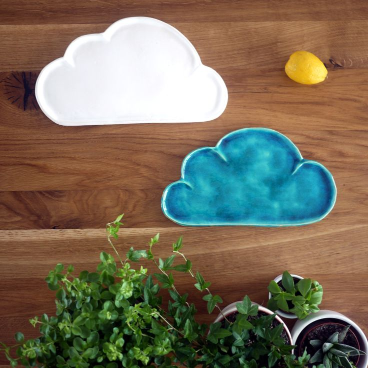 nice gift for kids:  white and blue simple ceramic cloud plate by projectorium.pl