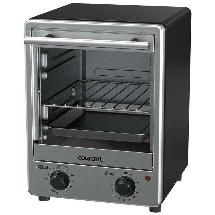 4-Slice Stainless Steel Toaster Oven, Stainless Steel Front With Black Cabinet