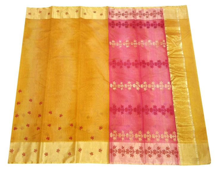 This Chanderi Saree is made of Mercerised Cotton weft and Silk warp. Length is approx. 6.25 meter, and width is approx 45 inches. At the time of listing this product, this item is available. In case this item is sold out from our physical store, the full refund will be initiated back to you within 2