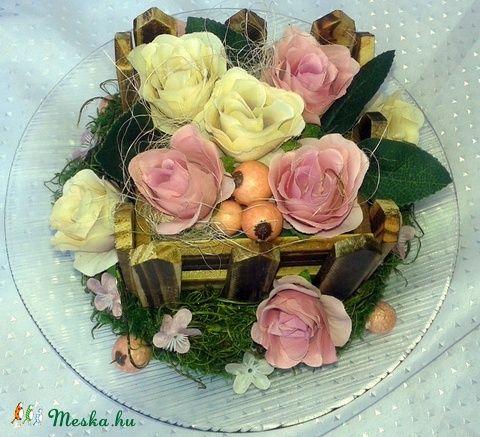 """""""Rusztikus rózsakert"""" asztaldísz (pinkrose) - Meska.hu"""