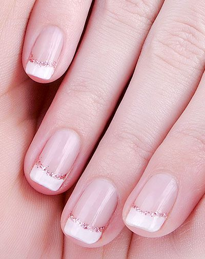 Short French manicure enhanced with glitter - Nail Art Gallery  http://www.nailartgallery.com/short/03.html