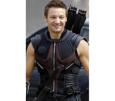 The Avengers Hawk Eye Jeremy Renner Men's Stylish Cowhide Leather Vest Jacket