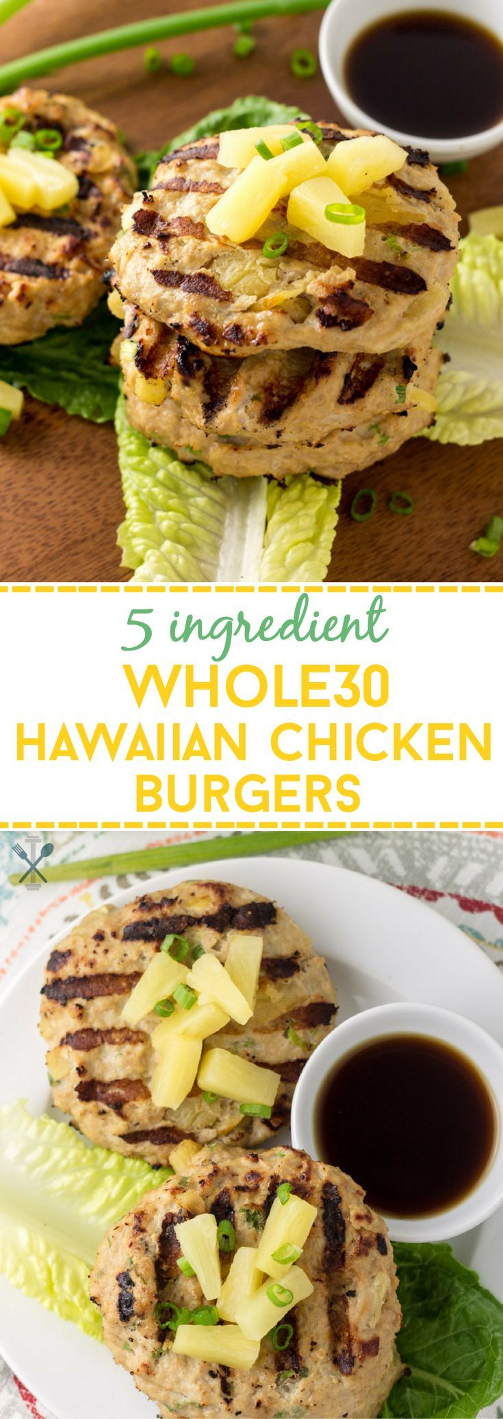 These Whole30 chicken burgers are made with only 5 ingredients, and bursting with flavor. Ground chicken with diced pineapples and coconut aminos, along wth a few other ingredients make up the easiest, tastiest summer burger that's lean, paleo, and Whole30 compliant