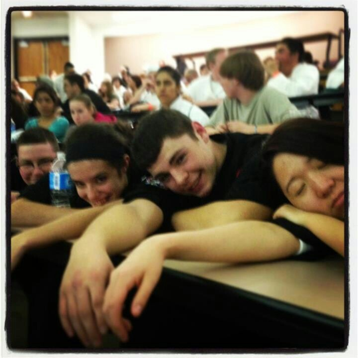 Tired team after the competition. (Grandview High School ProStart Culinary Team at the Colorado ProStart Invitational)