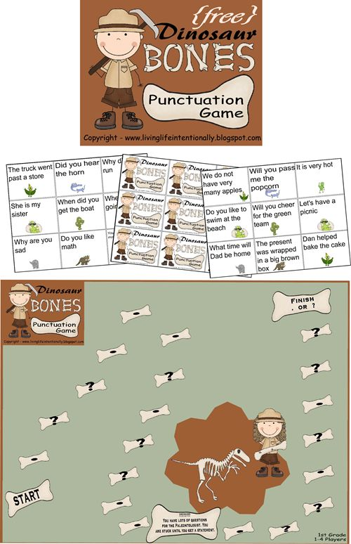 #freeprintable #dinosaur #game for kids K-3 to practice Punctuation. Cards are at a 1st grade+ reading level.