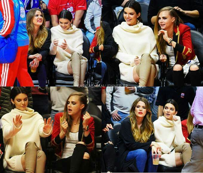 Khloe kardashian and Kendall Jenner and Cara Delavine