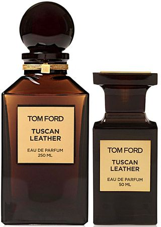 Tom Ford, Tuscan Leather. smoky, bitter birch-tar leather accord, with thyme, raspberry, and saffron.