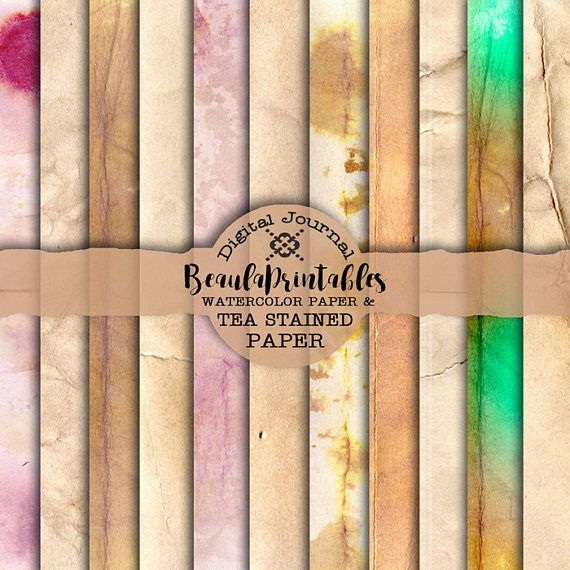 Tea Stained and Water Color Papers for Digital Vintage