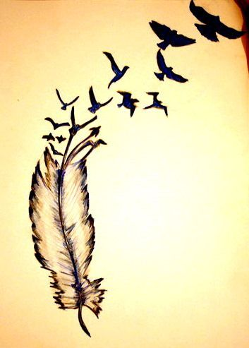 I would get this as a tattoo if the feather were a quill and then the birds turned into books. That would be awesome!