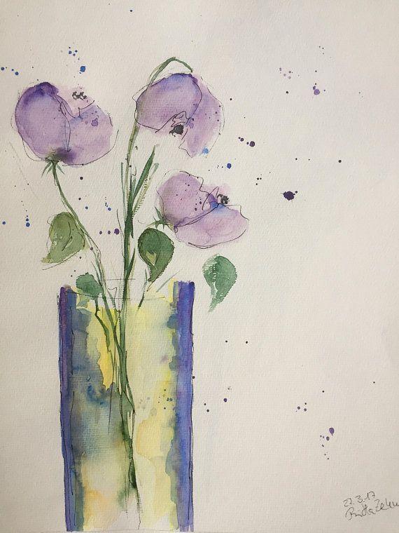 Original Watercolor 11 8 X 15 7 Inches 30 X 40 Cm Watercolor Painting Wall Art Flowers In The Vase Flower Painting Blumen Kunst Aquarell Blumen Und Aquarellmalerei