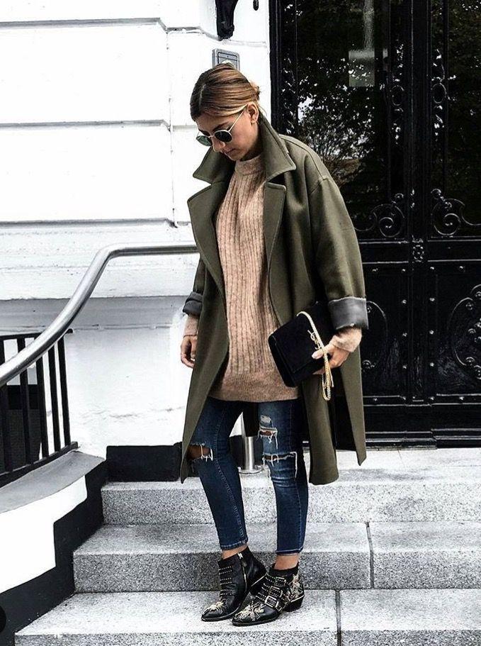 Street style  Manteau kaki Chloé boots