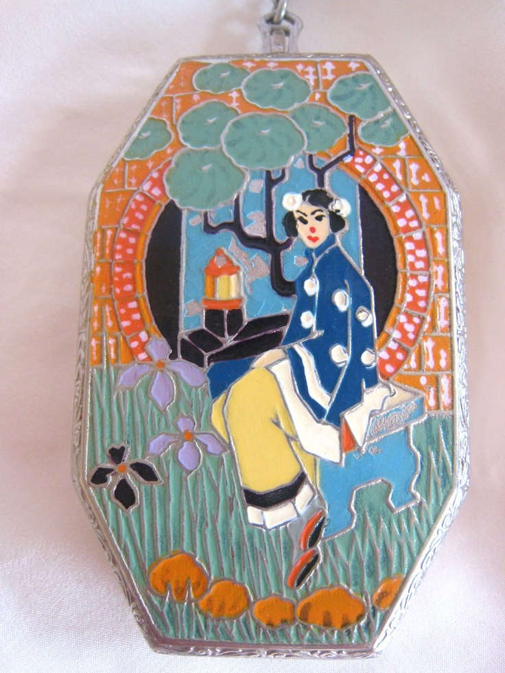 J.M. Fisher Art Deco Enameled Compact