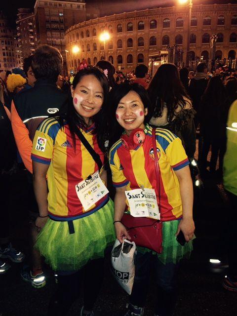 Dos participantes japonesas en la San Silvestre 2015 de Valencia. #Japón #Sansilvestre #Valencia #turismo #carreras