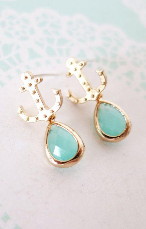 Gold Anchor Mint Teardrop Earrings Everyday