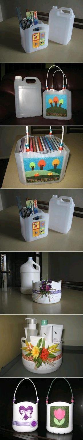 geef de plastic flessen van wasmiddel, ruitensproeiervloeistof etc. een tweede leven