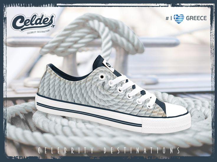 greek design, rope, circle, infinity, white, blue, bond, shoes