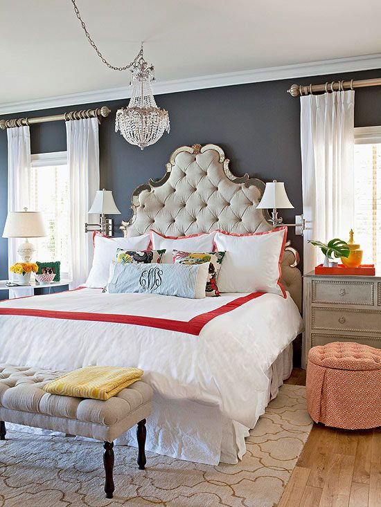 This sultry Master Bedroom features deep charcoal walls and the brilliant contrasts of white. Design by Fieldstone Hill Design.