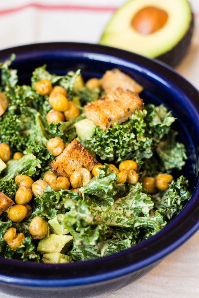 20-Minute Kale Caesar Salad with Avocado and Chickpeas #vegan | flavor & flora