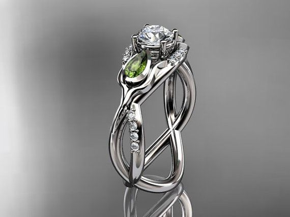 LOOK a setting with peridots I actually really really like!!  14kt  white gold diamond tulip flower wedding ring,engagement ring ADLR226