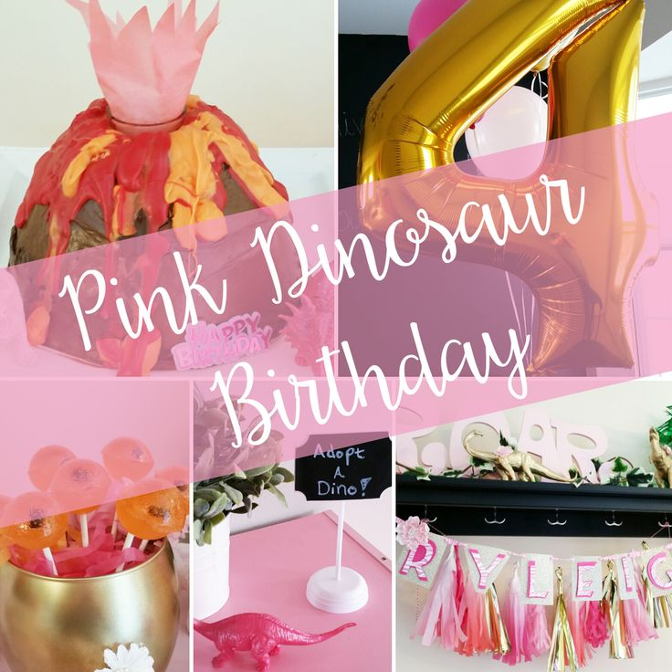 pink dino birthday party! Pink and gold dinosaurs, amber fossil suckers and an erupting volcano cake!