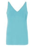 Womens **Tall Aqua Deep V Neck Cami Top- Blue