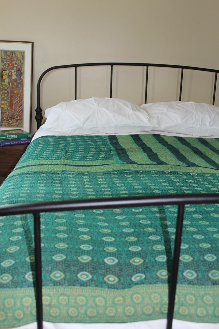 Gorgeous Vintage Sari Quilt - Indian Quilt - Kantha Quil. $70.00, via Etsy.