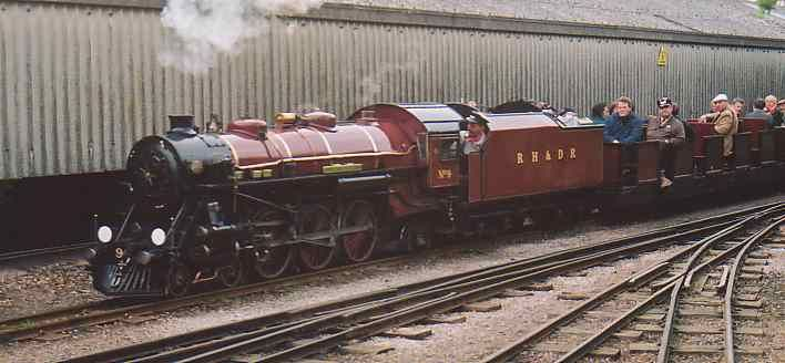 The oldest surviving YEC locomotive? One of only two or three YEC steam locomotives in running order! - This is not a mistake or bad link, the photograph above shows Romney, Hythe & Dymchurch Railway No.9 'Winston Churchill' (whilst on loan to the Ravenglass & Eskdale Railway - April 2000). How much of this locomotive and its twin No.10 'Dr. Syn' were built at Meadowhall is open to debate, but they do carry YEC builders numbers !