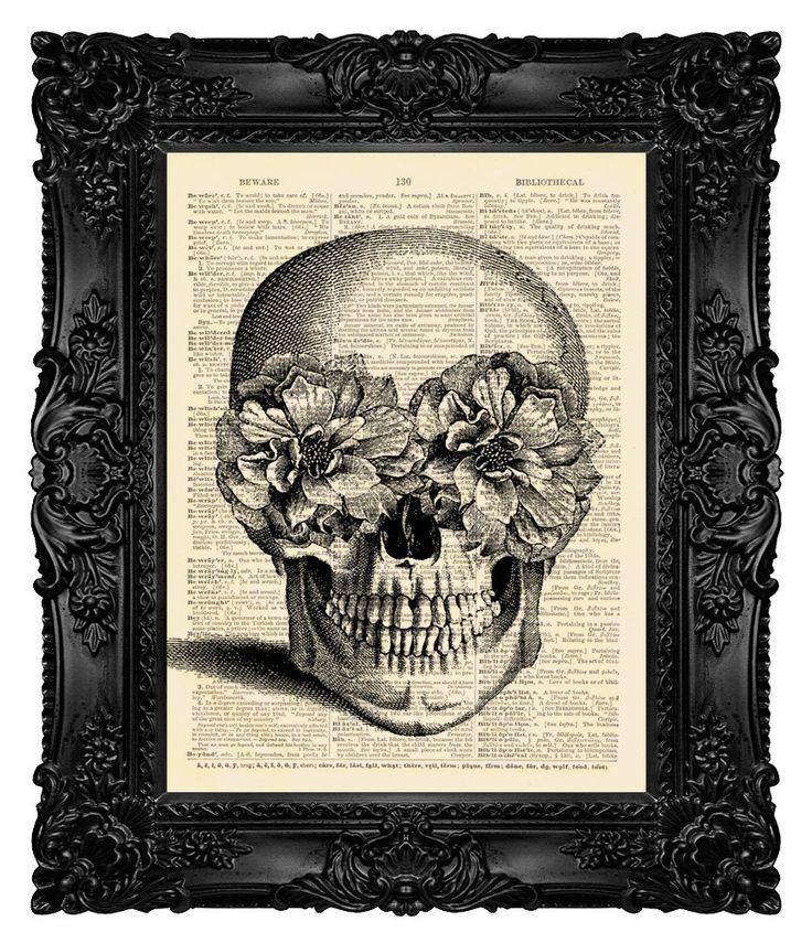 Skull Art Print Poster  SUGAR SKULL  Skull by MadameBricolagePrint, $10.00