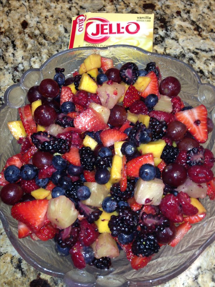 Secret Fruit Salad. Cut up your fresh fruit and sprinkle with 2 Tablespoons of Instant Vanilla Pudding. Stir and chill for a couple of hours. Gives a hint if vanilla flavor and just the right amount of sweet!!