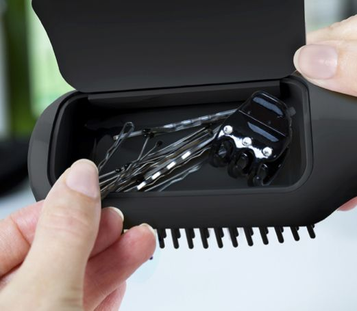 Perfect for the girls....A brush with storage for bobby pins or ponytails!!  love it (and link  to cool site): Idea, Hairbrush, Hair Ties, Bobby Pins, Brushes, Hair Accessories