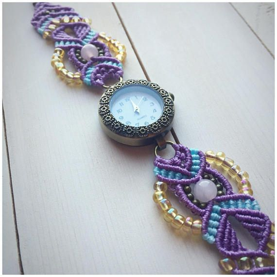 This handcrafted micro macrame watch is fully functional and made with genuine rose quartz beads, bronze beads, Czech glass beads, polyester cord, and a Quartz brand watch face. It is adjustable to fit wrist sizes 18cm to 22.5cm around. *colors may vary slightly depending on your